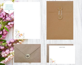 Personalised Letter Writing Set, Floral Stationery Set, Personalised Stationery Gift Set, Writing Paper