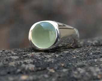 RESERVED 52MM Green prehnite  rings