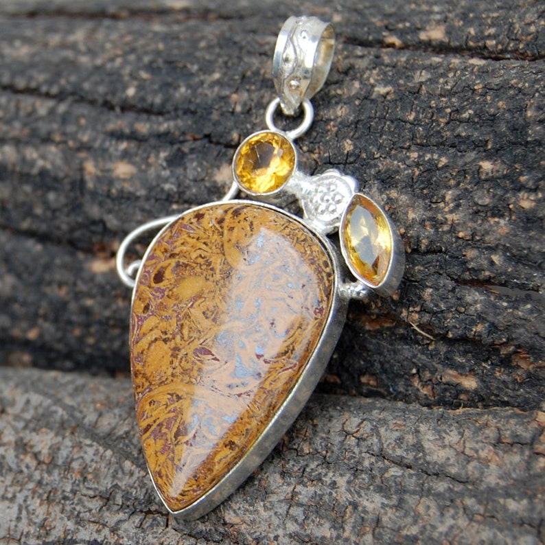 pear Lionskin jasper citrine quartz gemstone 925 sterling silver pendant citrine rose gold filled pendant Lionskin yellow gold  filled