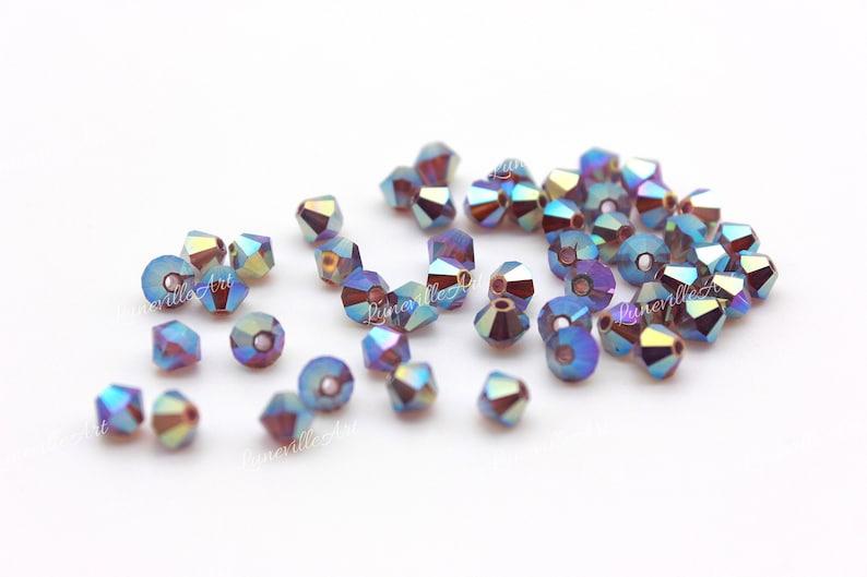 Preciosa bicone Amethyst Opal AB 2x size 4 mm  Bead Rondell  50 pcs  blue yellow bicone  Jewelry Stones  Made in Czech Republic