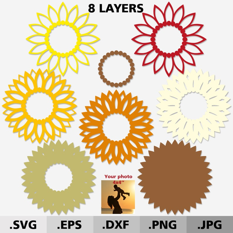 Download 3d Mandala Bundle SVG files for cricut. Layered Sunflower ...