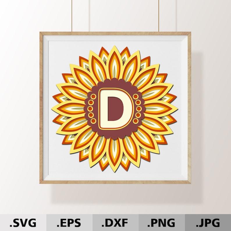 Download 3D Mandala Sunflower SVG. Letter D Mandala Monogram ...