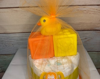 UNISEX DIAPER CAKE Gift Set w Pacifier Rubber Ducky and Toy Blocks