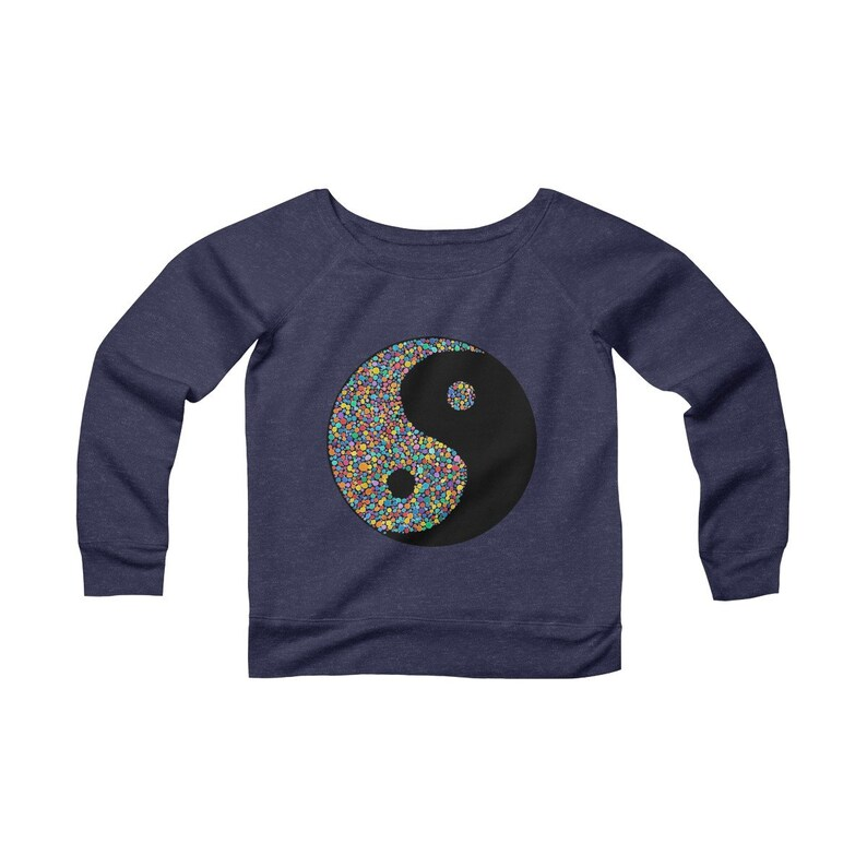 Raindrop Zoo Women/'s Fleece Wide Neck Sweatshirt Watercolor Yin Yang Rainbow Black