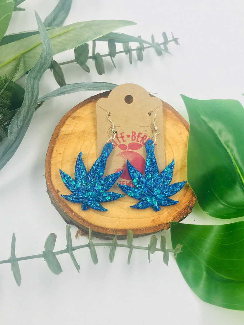 Large Glitter Cannabis Leaf Earrings  Pot Leaves  Sparkly Weed  Marijuana Resin  420 Jewelry *Multiple Colors*