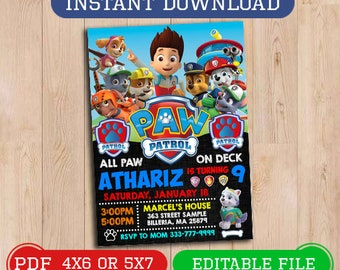 Paw Patrol Invitation Birthday Invite Party Instant Download Printable