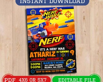 image relating to Free Printable Nerf Party Invitations named Nerf birthday Etsy
