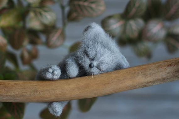 Needle felted photo prop Grey cat