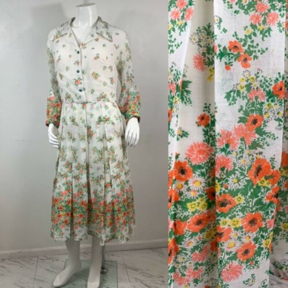 VTG 60s Women's Shirtwaist Dress Floral Day Dress