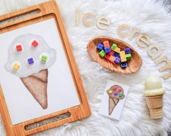 Loose Parts Ice Cream Pattern Board  - For Use With any Loose Parts! - Open Ended Play Printable (Digital Download)