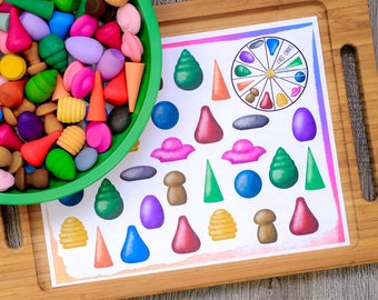 Loose Parts Spin  and Cover Game - For Use With Mandala Pieces - Open Ended Play Printable - Digital Download