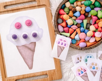 Loose Parts Ice Cream Pattern Board  - For Use With Mandala Pieces - Open Ended Play Printable (Digital Download)
