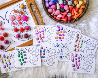 Loose Parts Butterfly Symmetry Board  - For Use With Mandala Pieces - Open Ended Play Printable (Digital Download)