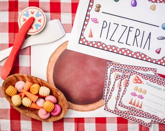 Loose Parts Pizzeria Recipe Cards Playset  - For Use With Mandala Pieces - Open Ended Play Printable (Digital Download)