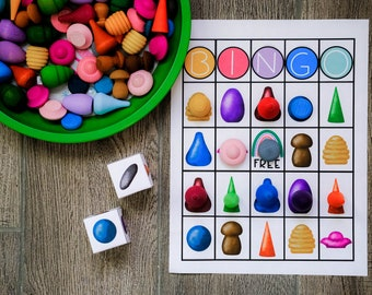 Loose Parts Bingo Game - For Use With Mandala Pieces - Open Ended Play Printable - Digital Download