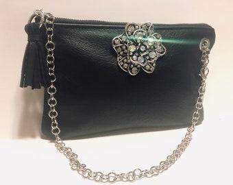 91acec021d32 New JJenni Black Leather Clutch Handbag Purse Fringe Tassel Rhinestone  Brooch Crystal Gift Designer Evening Party Bag USA Fashion Unique