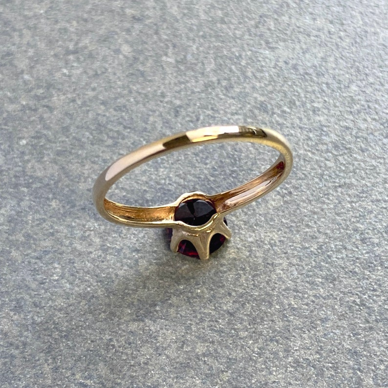 Rose Red Garnet and Vintage Gold Solitaire Ring