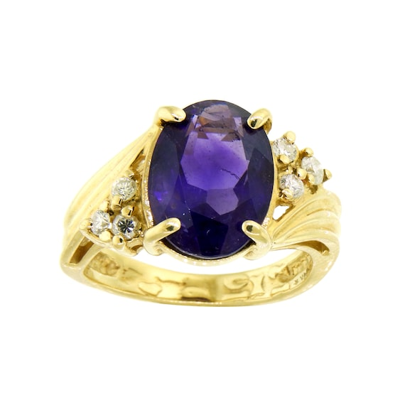 Deep Purple Amethyst and Diamond 14k Ring