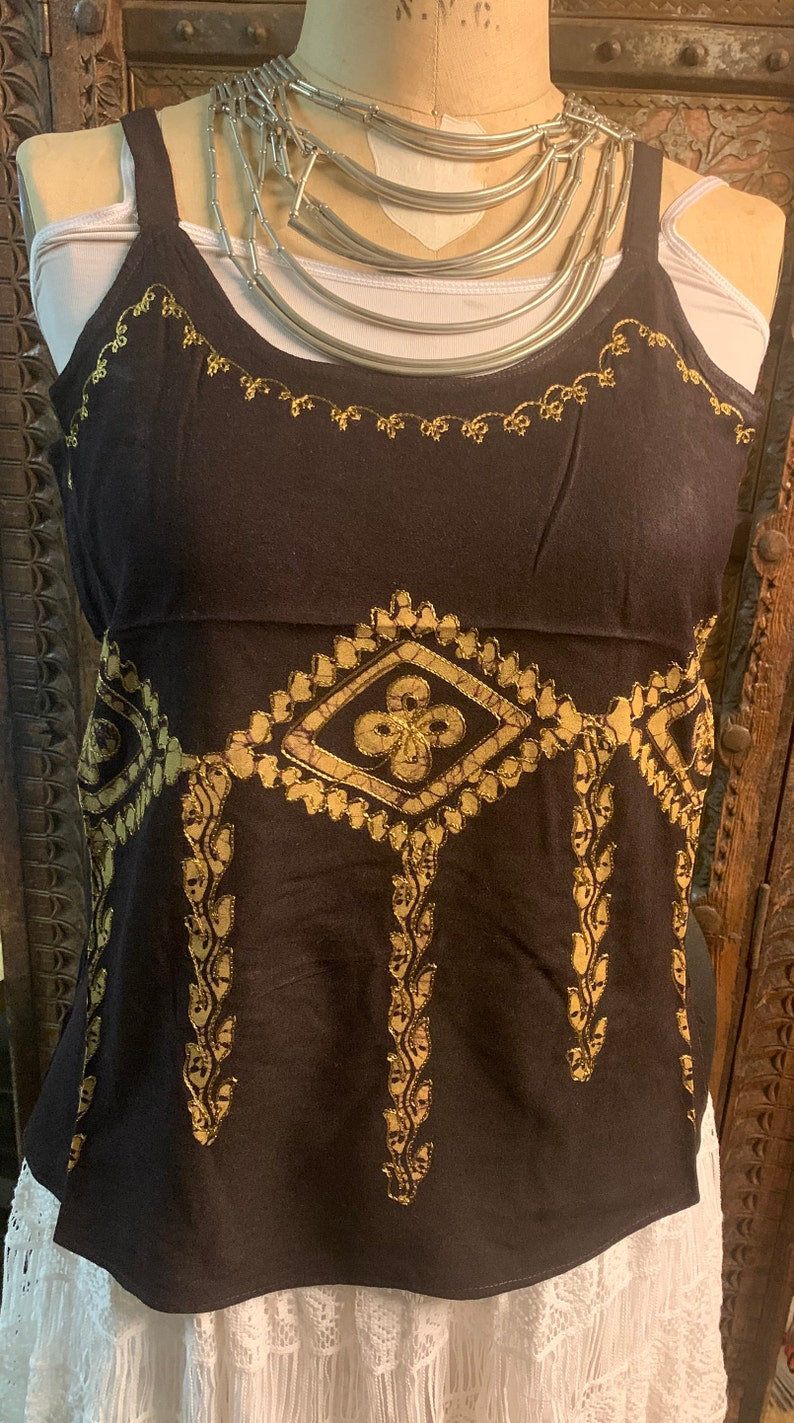 Summer cotton block print embroidered aria tops cami blouse