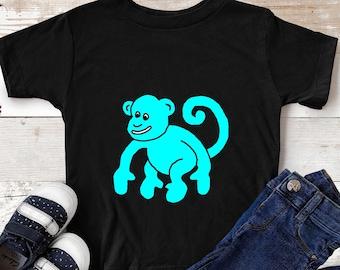 Blue Monkey T Shirt Boy Toddler 2T 3T 4T 5T 6T Girl Animal Whimsical Kids Top Ape Gorilla Clothes Birthday Gift Tee Cotton Unisex