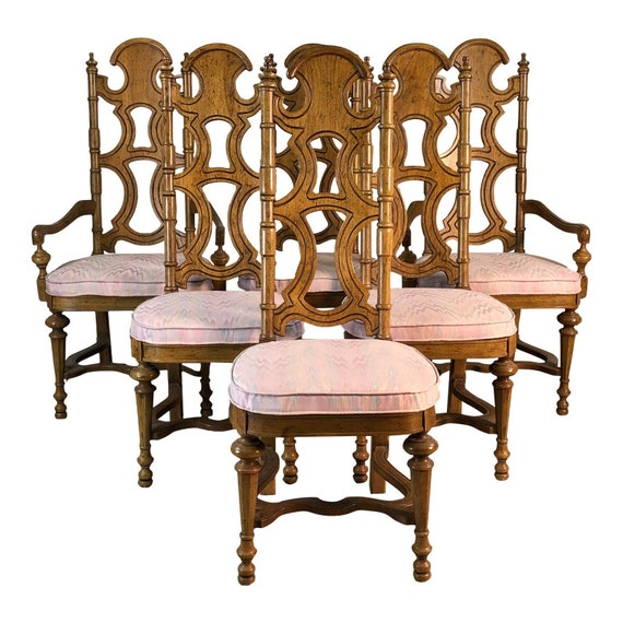 Drexel Furniture Co High Back Dining Chairs, Set of 6
