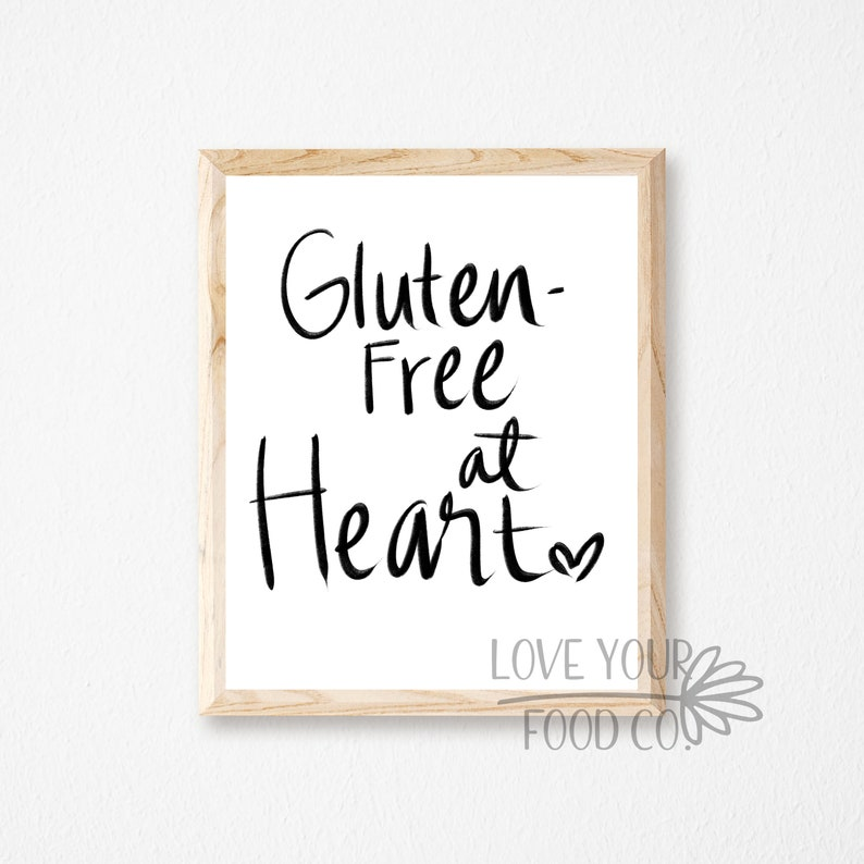 graphic relating to Free Printable Kitchen Art identified as Gluten Free of charge Printable Kitchen area Artwork, Gluten Free of charge Printable Wall Artwork Indicator, Hand Lettered Estimate Signal, Printable Wall Artwork Food items Allergy Signs or symptoms