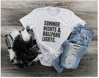 d264137c Summer Nights and Baseball Lights, Baseball Mom, Plus Size Baseball Shirt,  Sports Mom Shirt, Baseball Life, Baseball Mom T-Shirt