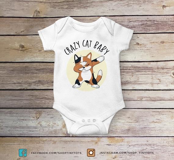Crazy Cat Baby Onesie Cat Onesie Reveal Onesie Cute Baby Onesies Funny Baby Onesies