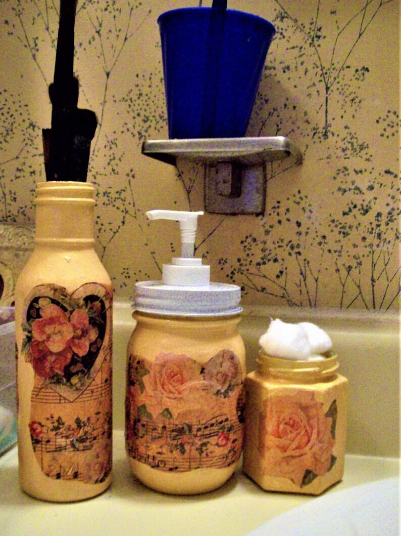 Mason Jar Bathroom Set Lotion Dispenser Painted Jars Three Pieces Of Bathroom Decor Decoupage Jars