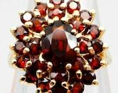 Estate 14k YELLOW GOLD Bohemian garnet Victorian style cluster ring