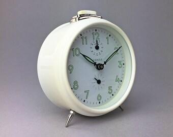 Vintage White Kienzle Alarm Clock — 1960s