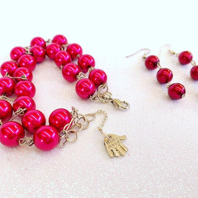 Ruby sunset earrings /& bracelet set handmadejewelry #dangleearrings#beadsjewelry Please note the colours may vary due to the lighting