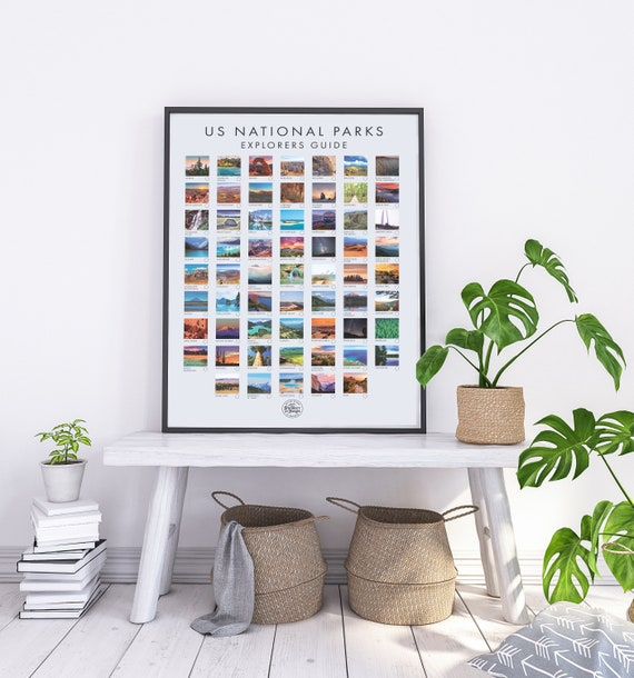 Customized USA National Park Poster - Interactive Travel Poster With All 61  US National Parks - Ideal Gift for Travelers - Christmas Gift