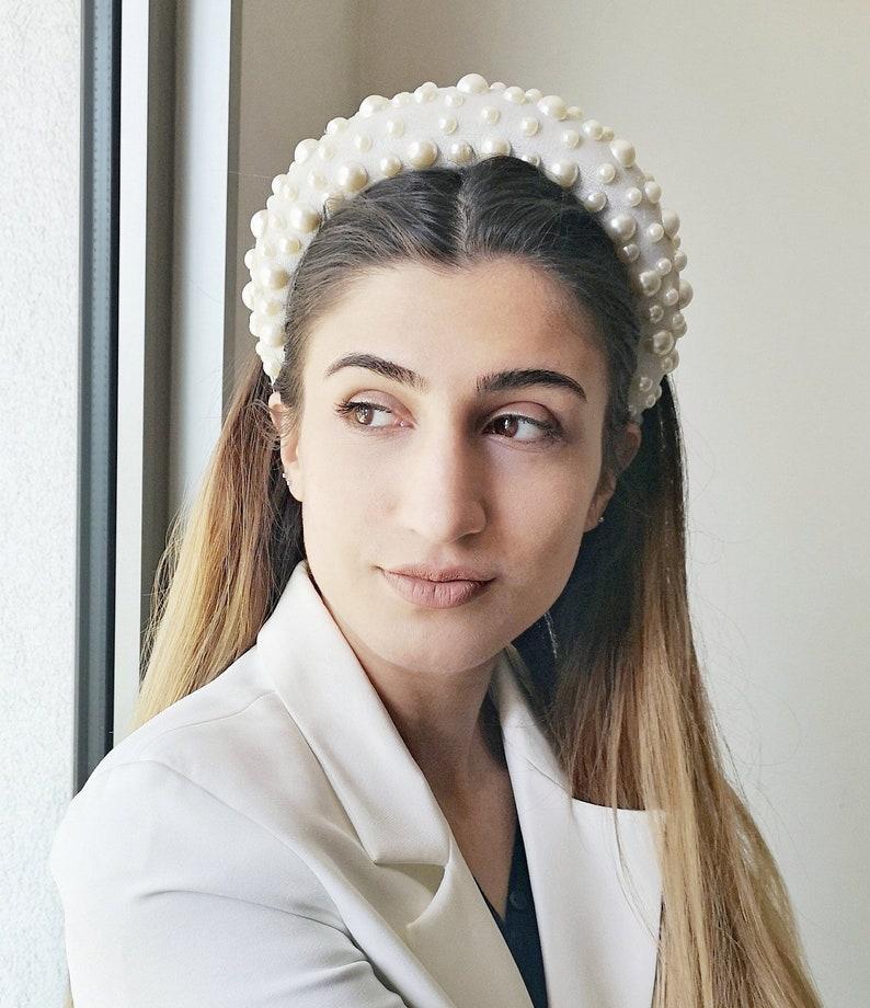 FREE EXPRESS SHIPPING White pearl velvet padded headband image 0