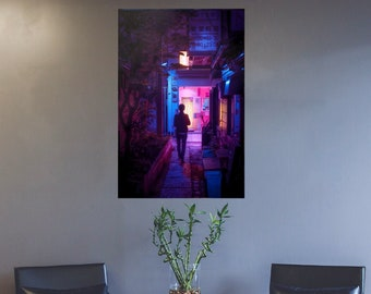 Walking alone in the narrow alley way of Tokyo Poster