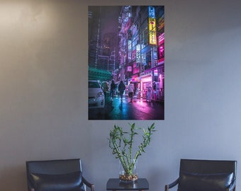 Poster Tokyo Neon Aesthetic  Photographic Print. Cyberpunk style vibe in Japanese street photography.