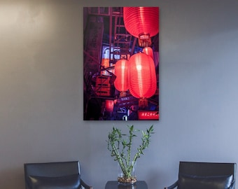 Red Lanterns from below Blade Runner Vibe. Cool wall art for home and office Cyberpunk Street Photography.