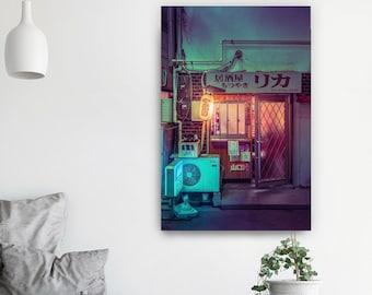 Poster Midnight Diner Tiny Tokyo Yakitori Restaurant in Japan Photographic Print. Night city street photography.