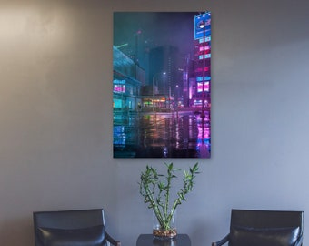 Poster City Reflection in the Rain Tokyo Japan. Beautiful night photography wall art for home and office.