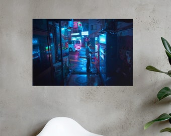 Horizontal Poster Cigarette Break in the Dark small alley of Tokyo Japan. Wall art for office, living room.