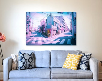 Anime in Real Life Vaporwave Summer Day in Tokyo Residential area Poster. Citypop vibe in japan photographic print for home and office.