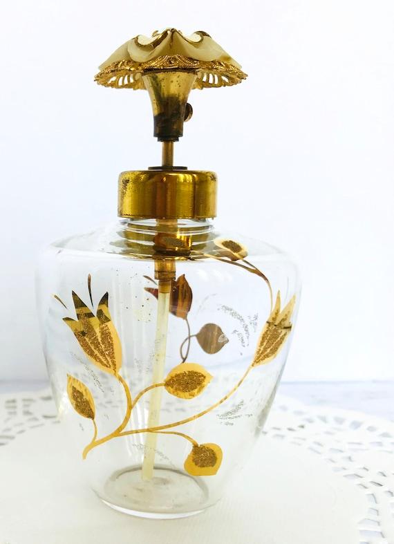 Gold leaf etching pray perfume bottle