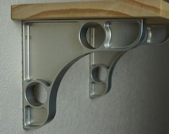 """Two machined 1"""" wide large pocket aluminum shelf brackets 5.75 x 6.25"""