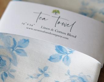 Blue rose floral tea towel/kitchen towel/southern kitchen/Cotton/Linen