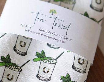 Mint julep tea towel/kitchen towel/southern kitchen/Cotton/Linen/spring/derby