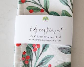Kids mistletoe napkin set/kitchen towel/southern kitchen/Cotton/Linen/play kitchen/Christmas