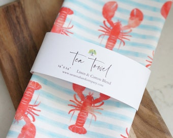 Summer stripe lobster tea towel/kitchen towel/southern kitchen/Cotton/Linen