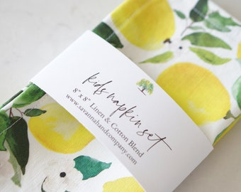 Kids lemon napkin set/kitchen towel/southern kitchen/Cotton/Linen/play kitchen/Christmas