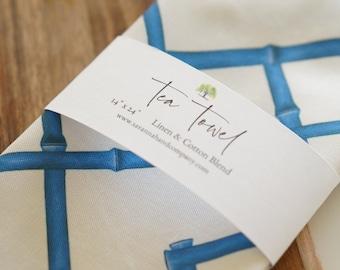 Blue trellis bamboo tea towel/kitchen towel/southern kitchen/Cotton/Linen