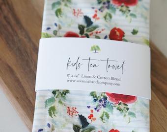 Blue stripe floral kids tea towel/kitchen towel/southern kitchen/Cotton/Linen